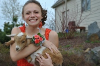 At prom, we're so cool that we pose with goats.