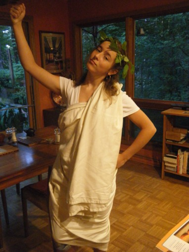 For extra-credit in history class, I dressed up in a toga and wore it around school all day.