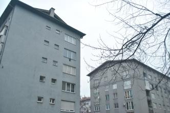 grey apartments, grey trees, and grey skies.