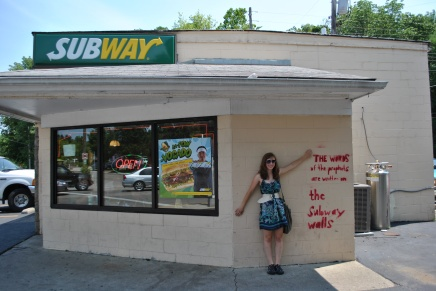 """July: In Yellow Springs, Ohio. """"The words of the prophets are written on the Subway walls"""" -Simon and Garfunkel, Sounds of Silence"""